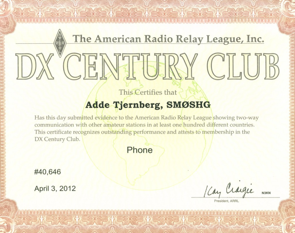 My first DXCC award.